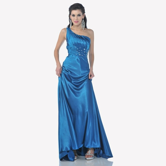 Cinderella Divine Dresses | New Teal Blue Formal Dress One Shoulder ...